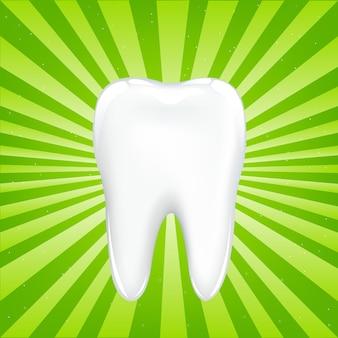 梁のある緑色の背景で、梁のある歯、イラスト