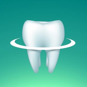 明るい円のある歯