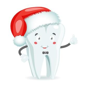 Зуб с глазами в красной шляпе санта-клауса на белом фоне. рождественские векторные стоматологические иллюстрации в мультяшном стиле.