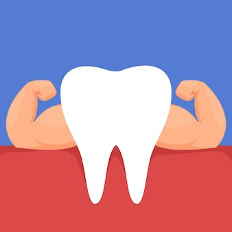 A tooth with strong arm muscles the concept of healthy correct vegetarian food