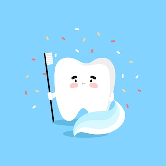 Tooth with toothbrush in flat style