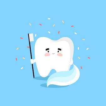 Зуб с зубной щеткой в плоском стиле