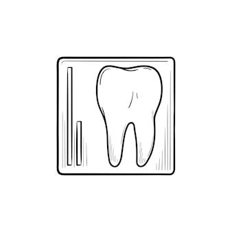 歯のx線手描きのアウトライン落書きアイコン。歯科医のケア、口腔病学および歯科医療の概念