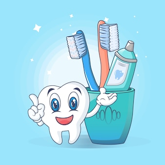 Toothbrush care fun concept, cartoon style