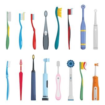 Toothbrush dental icons set