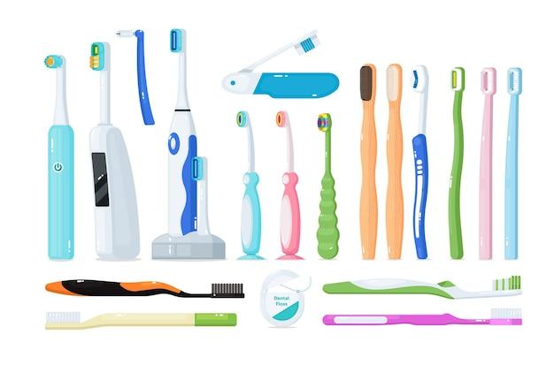 歯科治療の口腔衛生と歯の保護のための歯ブラシ。歯を磨くための電気、竹、プラスチックの歯ブラシと虫歯のエナメル質破壊防止