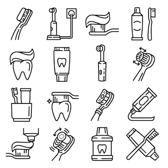 Toothbrush icon set, outline style