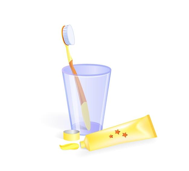 유리 컵에 칫솔과 치약 튜브 옆에 있는 벡터 illustratration 절연