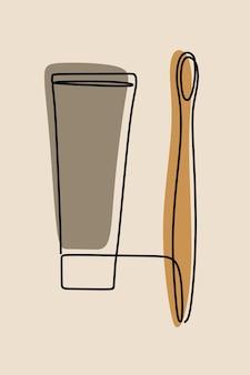 Зубная щетка oneline continuous line art
