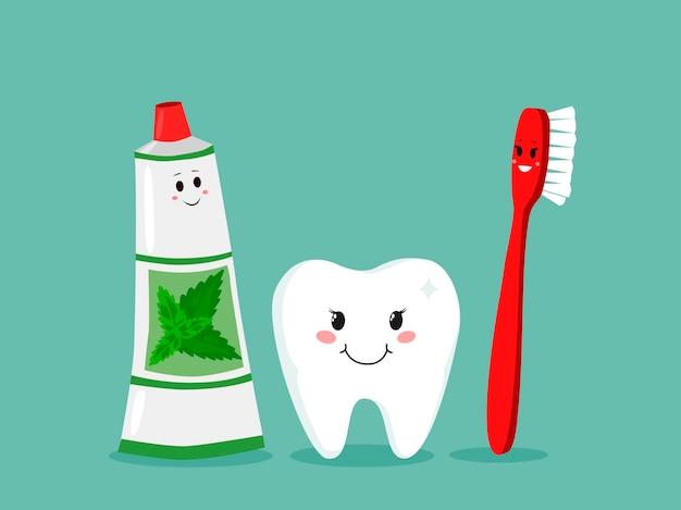 歯ブラシ、歯磨き粉、歯。歯磨き歯科セット。子供のための幸せな漫画のベクトルのデザイン。