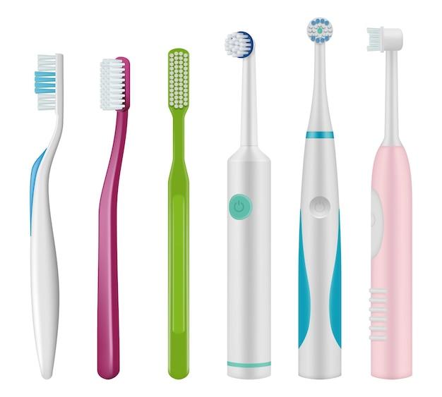 Зубные щетки. щетка для зубов механического и электрического типа для ежедневной гигиены полости рта вектор реалистичный шаблон. иллюстрация коллекция зубных щеток механическая и электрическая