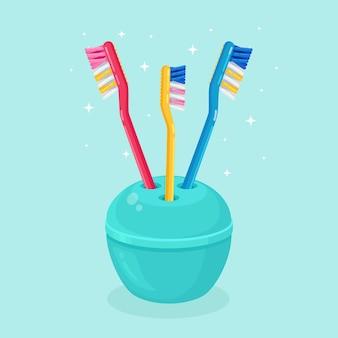 ブラシの歯のための歯ブラシ。歯の手入れ