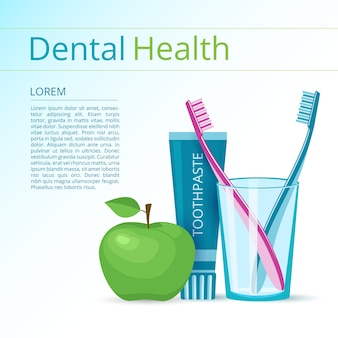 Toothbrushes and toothpaste banner with green apple.