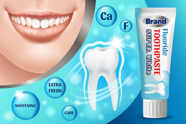 Toothpaste ads design. cosmetics product.