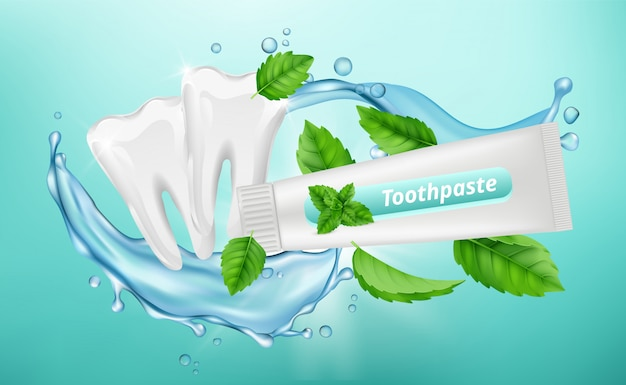 歯磨き粉の背景。歯科ポスター。ミントハーブ歯磨き粉、白いきれいな歯のバナー