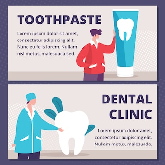 Toothpaste, dental clinic flat ad banners