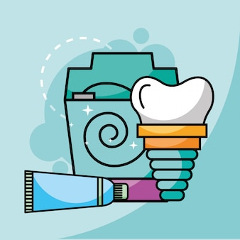 Toothpaste floss and dental implant