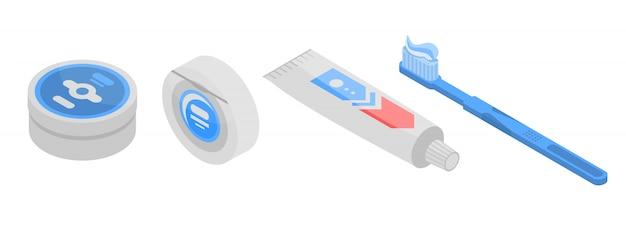 Toothpaste icons set, isometric style