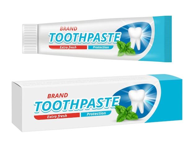 歯磨き粉パッケージ。歯の歯科用保護ボックスラベルベクトルデザインテンプレート。イラスト歯磨き粉チューブデザイン、製品ケア歯