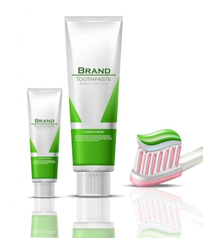 Toothpaste realistic packaging mock up. green bio products tubes and brush