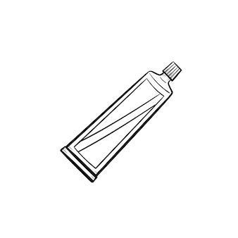 Зубная паста тюбик рисованной наброски каракули значок. гигиена, защита полости, медицинская концепция косметики для зубов