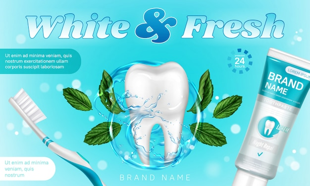 Toothpaste with mint and toothbrush promo poster