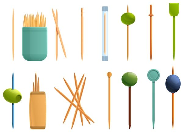Toothpick icons set, cartoon style