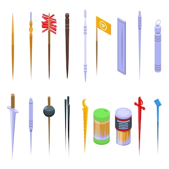 Toothpick icons set. isometric set of toothpick vector icons for web design isolated on white space