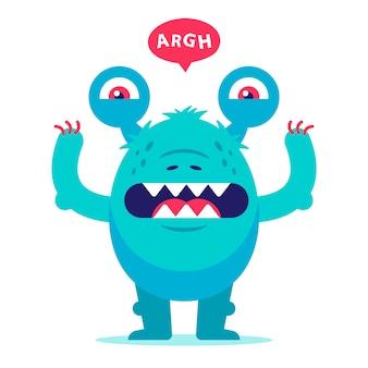 Зубастый монстр из детских кошмаров. уродливое существо рычит и пугает. плоский характер иллюстрации.