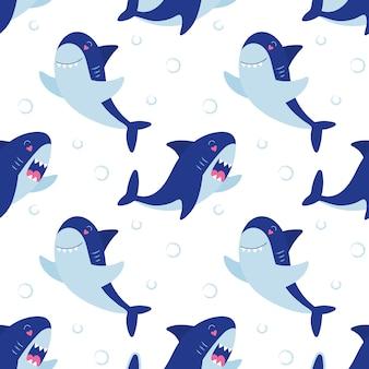 Зубастые акулы бесшовные модели. подводный милый персонаж. детский принт для упаковки, тканей, обоев, текстиля.