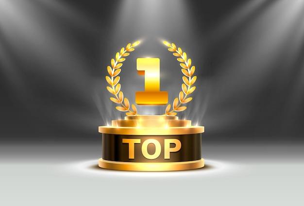 トップ1の最高の表彰台賞のサイン、金色のオブジェクト