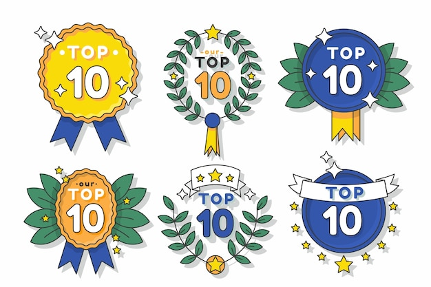 Top 10 badges with ribbons