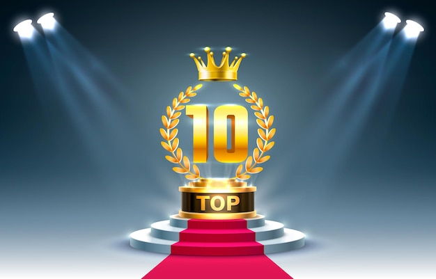 トップ10の最高の表彰台賞のサイン、金色のオブジェクト。