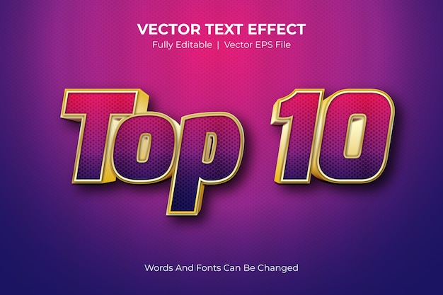 Top 10 editable text