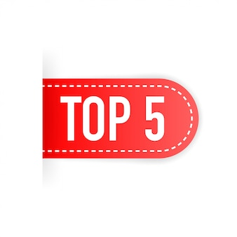 Top 5. red ribbon. flat vector illustration on white