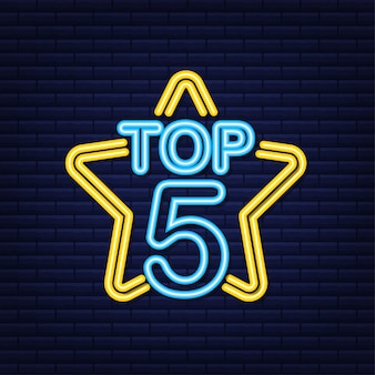 トップ5-黒の背景に青いネオンラベルが付いたトップ10ゴールド。ベクトルイラスト。