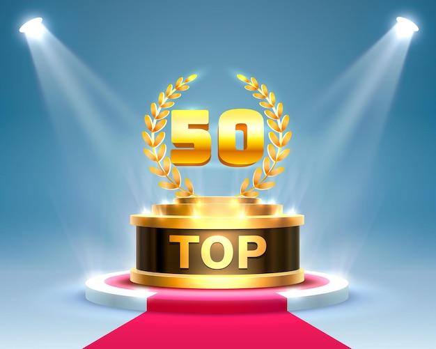トップ50の最高の表彰台賞のサイン、金色のオブジェクト
