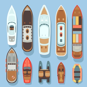 Top aerial view boat and ocean ships vector set. sea boat and transport for travel