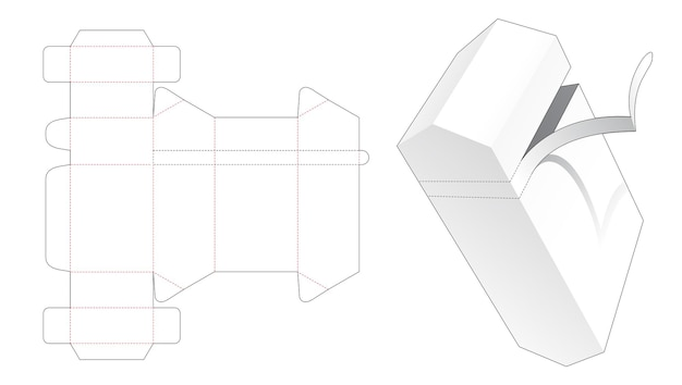 지퍼 다이 컷 템플릿이있는 상단 및 하단 각진 상자 프리미엄 벡터