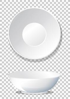 シンプルな白い無地のボウルの上面図と側面図
