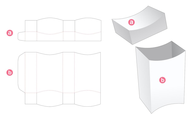 Top and bottom curved box with lid die cut template