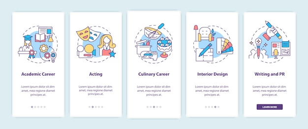 Top careers for creative thinkers onboarding mobile app page screen with concepts