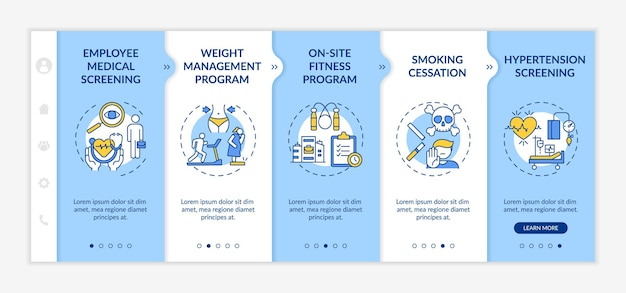 Top corporate wellness programs onboarding  template. employee medical screening. on-site fitness. responsive mobile website with icons. webpage walkthrough step screens. rgb color concept