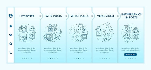 Top engaging posts types onboarding vector template. responsive mobile website with icons. web page walkthrough 5 step screens. viral video, why and what posts color concept with linear illustrations