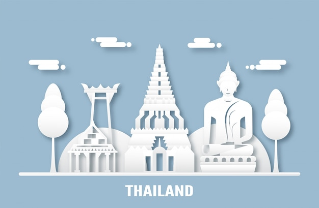 Top famous landmark and building of thailand country for travel and tour.