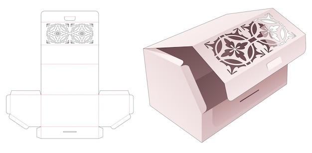 만다라 스텐실 다이 컷 템플릿이있는 상단 플립 모따기 상자