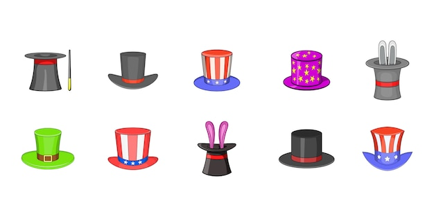 Top hat element set. cartoon set of top hat vector elements