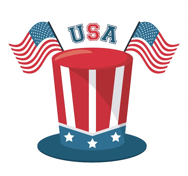 Top hat and usa flag lettering design