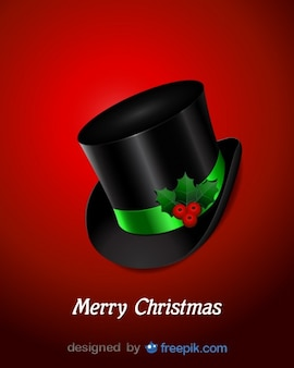 Top hat with holly decoration