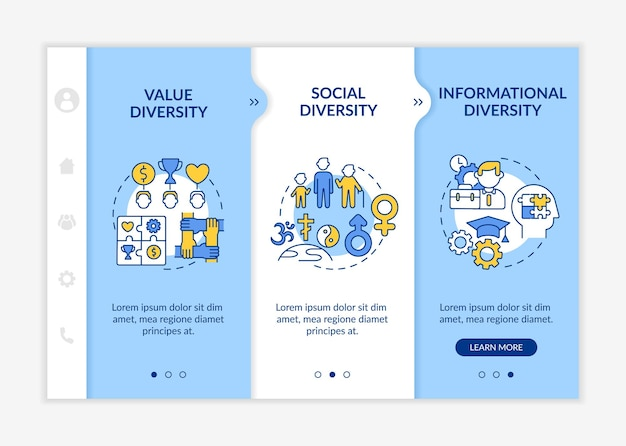 Top management diversity types onboarding  template. value and social diversity in company. responsive mobile website with icons. webpage walkthrough step screens. rgb color concept